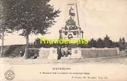 CPA WATERLOO MONUMENT ERIGE A LA MEMOIRE DES COMBATTANTS BELGES - Waterloo