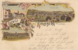 Kirchberg, Gruss Aus - Toggenburg - Farbige Litho - Kirchberg Von Westen U. Von Osten - SG St. Gall