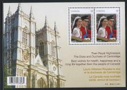 CANADA 2011 ROYAL WEDDING SOUVENIR SHEET WITH 2 PERMANENT STAMPS - 1952-.... Elizabeth II