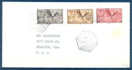 1958 , AFRICA OCCIDENTAL , SOBRE CIRCULADO A EVANSTON , MAT. CORREO AÉREO AAIUN , ED. SAHARA 146/148 - Sahara Español