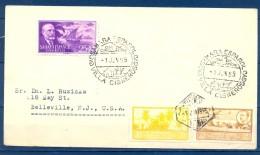 1955 , SAHARA ESPAÑOL , VILLA CISNEROS , PRIMER DIA , MAT. CORREO AÉREO , CIRCULADO A BELLEVILLE - Sahara Español