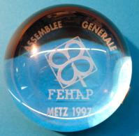 PRESSE-PAPIERS ASSEMBLEE GENERALE FEHAP METZ 1997 / FAIT-MAIN SOUFLE-BOUCHE HARTZVILLER DISTRIBUTIION - Presse-papiers