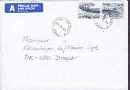 Norway A PRIORITAIRE Par Avion Label ULLEVÅL STADION 1999 Cover Brief Denmark 2x Fish Fische Poisson - Norwegen