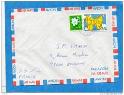 MARCOPHILIE-lettre-JAPON->Françe Cad- -1991-stamp N°1928-Butterfly- - 1926-89 Emperor Hirohito (Showa Era)
