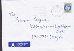 Norway A PRIORITAIRE Par Avion Label RAKKESTAD 1999 Cover Brief Denmark 5 Kr. Posthorn Stamp - Norwegen