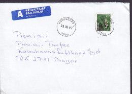 Norway A PRIORITAIRE Par Avion Label KONGSBERG 1997 Cover Brief DRAGØR Denmark Flower Blume Stamp - Norwegen