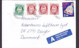 """Norway A PRIORITAIRE Par Avion Label GRESSVIK Fraderikstad 1997 """"Petite"""" Cover Brief Denmark 4x Posthorn & Mütze Stamp - Norwegen"""