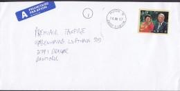 Norway A PRIORITAIRE Par Avion Label HUNN Gjøvik 1997 Cover Brief Denmark Königspaar Royal Couple Stamp - Norwegen