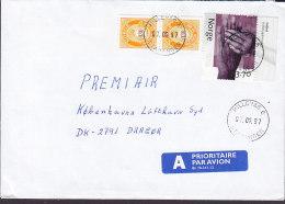 "Norway A PRIORITAIRE Par Avion Label HILLEVÅG Stavanger 1997 Cover Brief Denmark 2x Posthorn ""Velferd"" W. Margin Stamps - Norwegen"