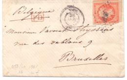 France N°16 Sur Lettre Oblitérée Nice 1861 - Postmark Collection (Covers)