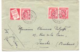 Belgique PU N° 76 + TB 18 Sur Lettre Oblitérée Auvelais 1937 - Publicités