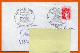 69 SAINT PRIEST 1981 68° TOUR DE FRANCE  CONTRE LA MONTRE Lettre Entière N° Z 699 - Cycling