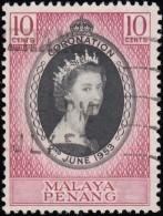 MALAYA Penang - Scott #27 Coronation (*) / Used Stamp - Penang