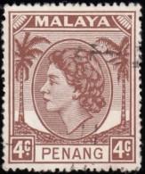MALAYA Penang - Scott #31 Queen Elizabeth II (*) / Used Stamp - Penang