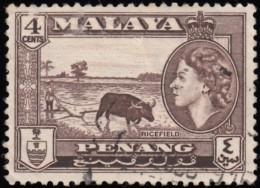 MALAYA Penang - Scott #47 Queen Elizabeth II (*) / Used Stamp - Penang