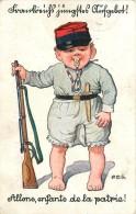 P.O. Engelhard (illustrateur)- Enfant  Soldat Allemand, Allons Enfants De La Patrie, Carte Illustrée.+cachet Militaire. - Patriotiques