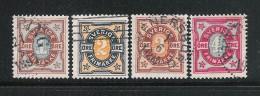 SVEZIA-1892 - 4 Valori Usatil Da 1-2-3-4o. Emissione CIFRA IN OVALE (n. 50-53) - In Ottime Condizioni - Suède