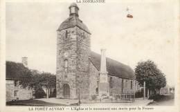 """/ CPA FRANCE 61 """"La Forêt Auvray, L'église Et Le Monument Aux Morts"""" - Autres Communes"""