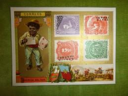 Chromo Timbre Des Pays, Avec Enfants, Fonds Or - CORREOS - AMERICA DEL SUR - éditions Hutinet - Chromos