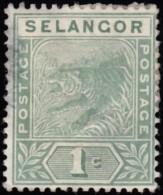 MALAYA Selangor - Scott #24 Tiger / Used Stamp - Selangor