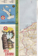B1646 - MAP - CARTINA PISA-LIVORNO - CARTA STRADALE BP Ed. IGDA 1962 - Carte Topografiche