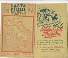 B1772 - CARTA D'ITALIA TOURING CLUB IT. Foglio 5 - VENTIMIGLIA/IMPERIA/LA SPEZIA/VIAREGGIO/LIVORNO/PUBBLICITA' MICHELIN - Carte Topografiche