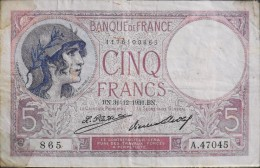 FRANCE 1 BILLET De BANQUE De 5Francs Type Violet - BN.31=12=1931.BN. - 1871-1952 Antiguos Francos Circulantes En El XX Siglo
