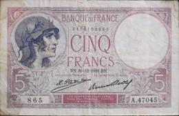FRANCE 1 BILLET De BANQUE De 5Francs Type Violet - BN.31=12=1931.BN. - 1871-1952 Circulated During XXth