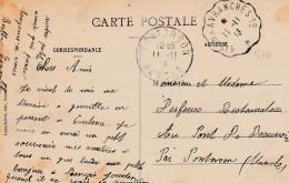 Carte De Coutances Pour Pontorson  -cachet Courrier-convoyeur N° 534 (ref. Pothion) Scan Recto-verso