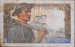 FRANCE 1 BILLET De BANQUE De 10Francs Type Mineur - G.7=4=1949.G. - 10 F 1941-1949 ''Mineur''