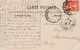 Carte D'Avranches Pour Montmartin  -cachet Courrier-convoyeur N° 536 (ref. Pothion) Scan Recto-verso