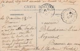 """Sur Carte Contre Torpilleur """" Oriflamme  -cachet Courrier-convoyeur N° 1302 (ref. Pothion) Scan Recto-verso"""