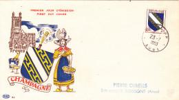 FDC FRANCE N° Yvert 953 (CHAMPAGNE)  Obl Sp 1er Jour  RR - FDC