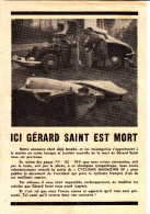 COUPURE DE PRESSE Concernant L'accident Mortel Du Grand Espoir Du Cyclisme Français GERARD SAINT - Non Classificati