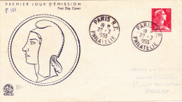 FDC FRANCE N° Yvert 1011 (MARIANNE)  Obl Sp 1er Jour  RR - 1950-1959