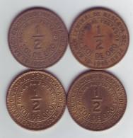 PÉROU Lot De 4 Pièces De 1/2 Sol De Oro 1935 1946 1957 1959 - Pérou