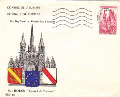 FDC FRANCE N° Yvert SERVICE 16 (CONSEIL De L'EUROPE)  Obl Sp FLAMME 1er Jour Strasbourg - FDC