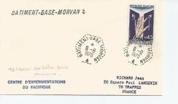 BB MORVAN LE 6/8/1970 JOUR DU TIR TOUCAN BOMBE NUCLÉAIRE PAR BALLON A 500M MURUROA - Marcophilie (Lettres)