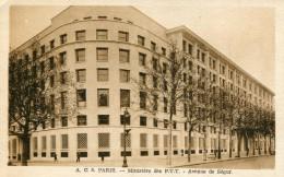 Cpa 75 Ministére Des PTT Avenue De Ségur Couleur Sépia - Autres Monuments, édifices