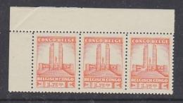 Belgisch Congo 1941 Monument Koning Albert I Te Leopoldstad 1,75 Fr  1w  Strip Van 3 Zegels  ** Mnh (29281) - Belgisch-Kongo
