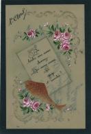 POISSON 1ER AVRIL - Jolie Carte Fantaisie CELLULOID Fleurs Et Poisson D'avril - 1er Avril - Poisson D'avril