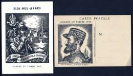 LOT 4 CARTES  JOURNÉE DU TIMBRE LÉGION- 1946 ET 1947- 1 SIDI BEL ABBES  ET 3 GENERAL ROLLET NEUVES- 3 SCANS - 1940-49