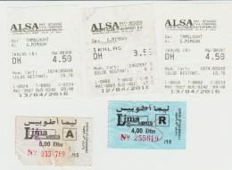 Lot 5 Tickets De Bus Marrakech Et Essaouira Maroc Année 2016 - Tickets - Vouchers