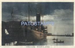 37098 ITALY CIVITAVECCHIA ROMA PIROSCAFO DEPARTING SHIP POSTAL POSTCARD - Unclassified