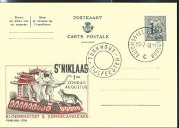 Publibel Obl. N° 1570 ( Zomercavalcade: St-Niklaas 01/08: Tigre-éléphants ) Obl: Turnhout Poste Automobile 20/07/1958 - Publibels