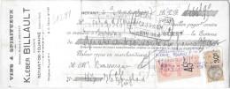 001 - LETTRE DE CHANGE - VIN KLEBER BILLAULT - NOYANT DE TOURAINE - Banque & Assurance