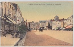 CHÂLONS-SUR-MARNE - Place De La République - Café De La Bourse - Cpa Toilée Colorisée - Châlons-sur-Marne
