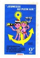 Grand Timbre Vignette Jeux En Plein Air 1964 Signé Hervé Morvan - Commemorative Labels