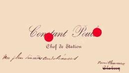 CONSTANT POULET CHEF DE GARE à CLABECQ / CHEMIN DE FER BELGE / Familleureux - Cartes De Visite