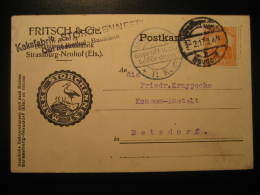 1917 STRASSBURG To Betzdorf Luxembourg ? Gepruft Censor Censored Cancel WW1 Militar STORK Card Germany Deutsches Reich - Allemagne